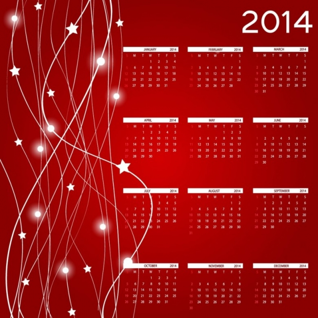 2014 Calendar Happy New Year 2