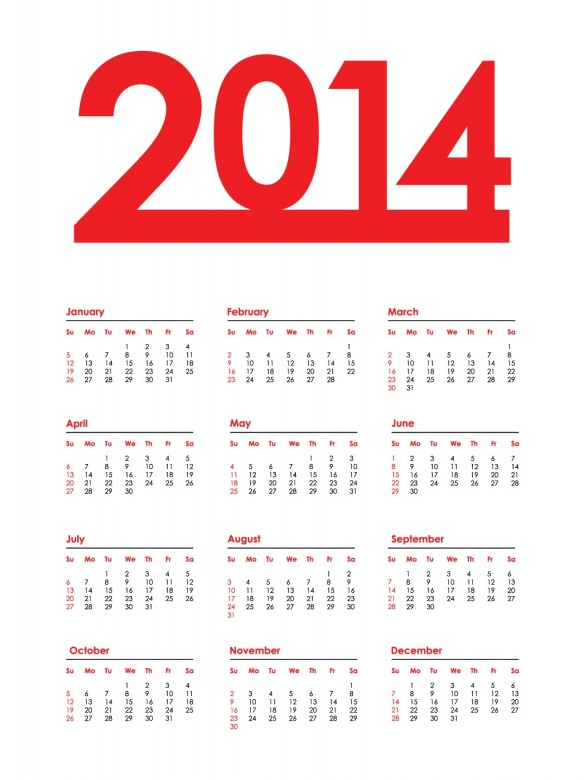 2014 Calendar Happy New Year 5