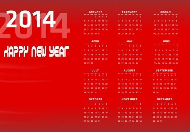 2014 Calendar Happy New Year 7