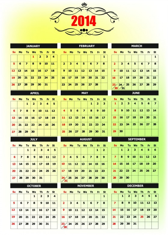 2014 Calendar Printable 11 559x780 2014 Calendar Ready to Printable