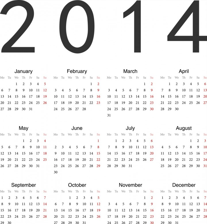 2014 Calendar Printable 7 720x780 2014 Calendar Ready to Printable