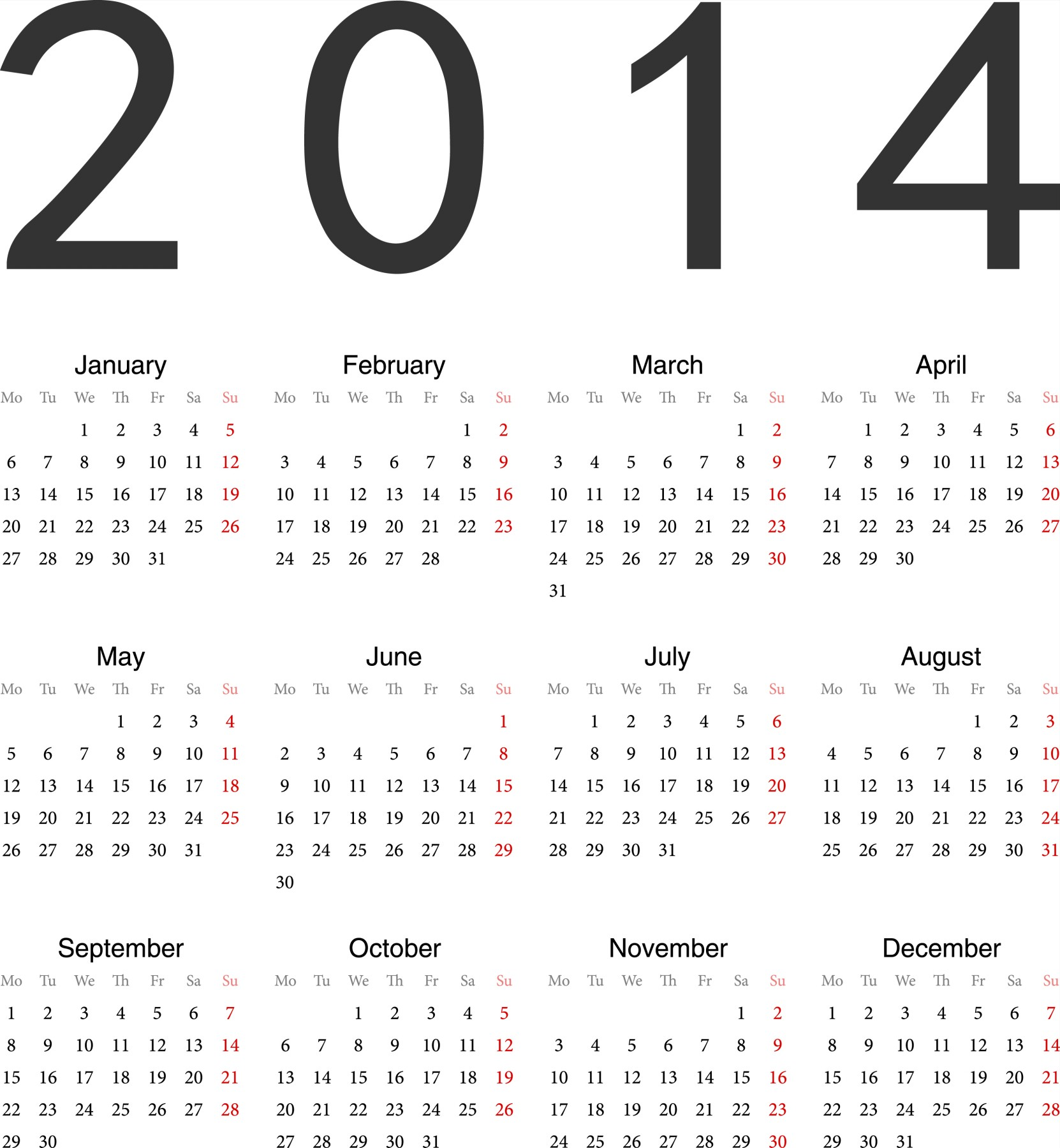 2014 Calendar With Holidays Printable Pdf.
