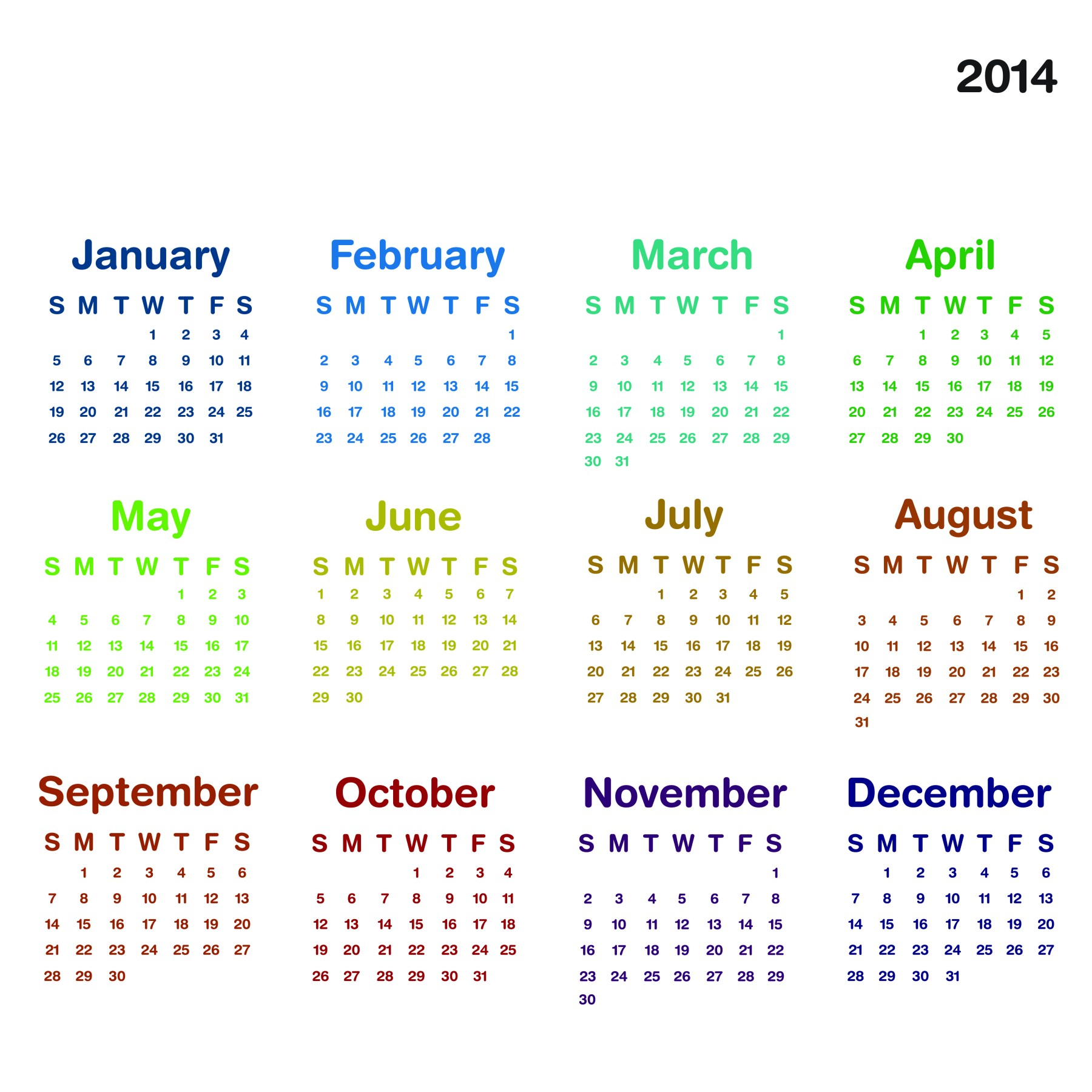 2014 calendar ready to printable elsoar for Fillable calendar template 2014