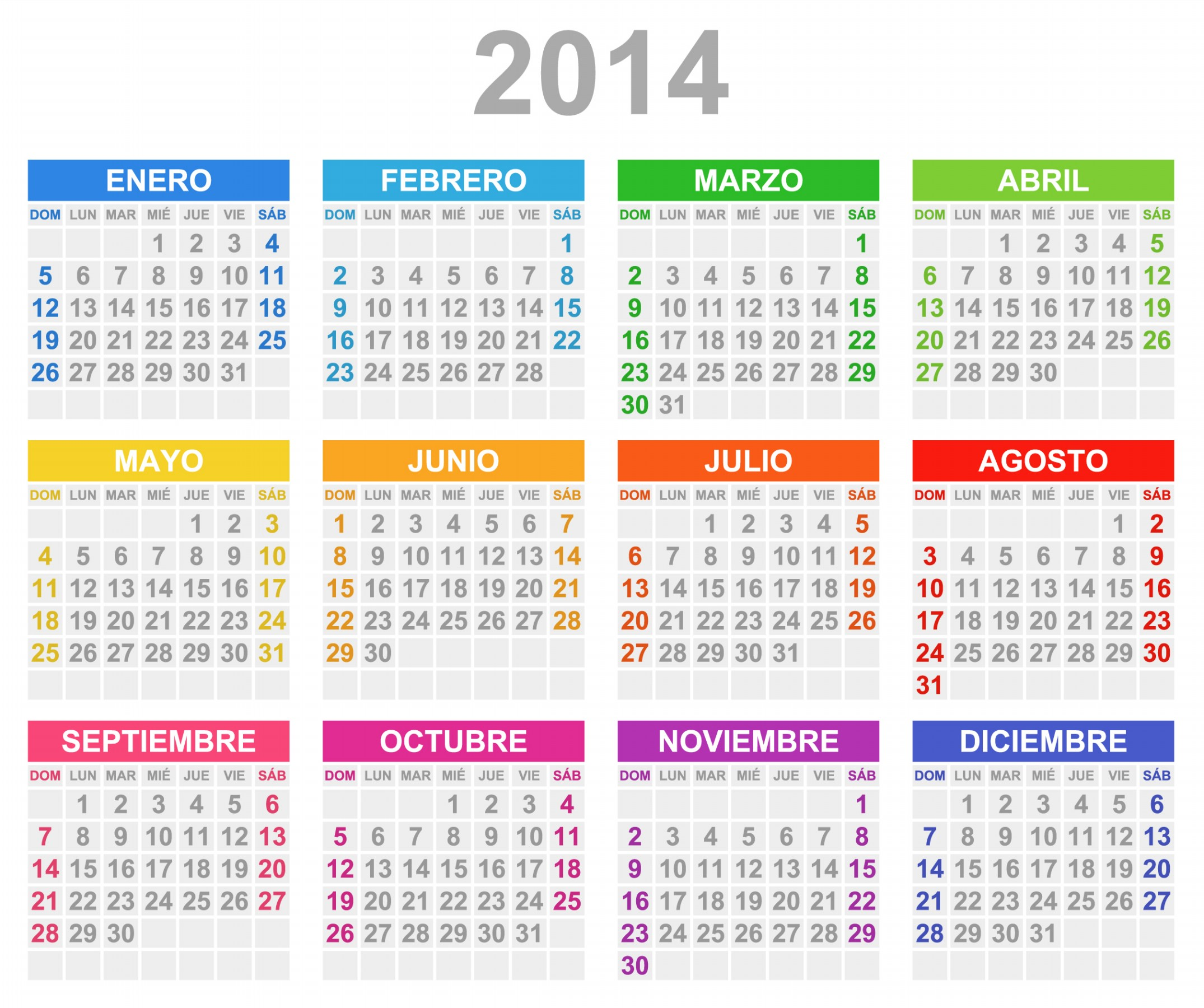 Free Printable 2014 Monthly Calendars | Car Interior Design