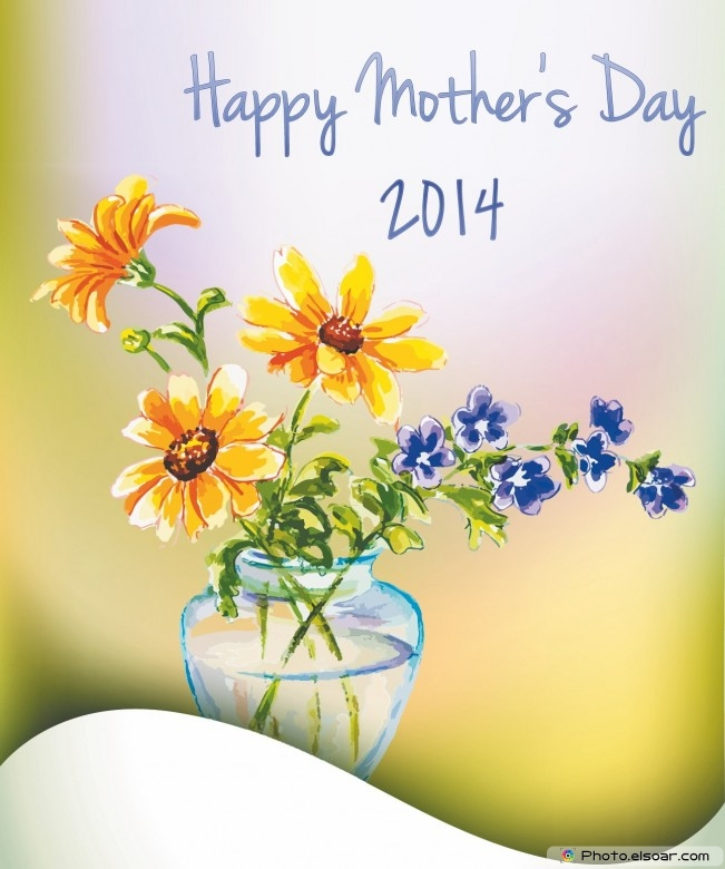 2014 Mothers day flowers card With vase