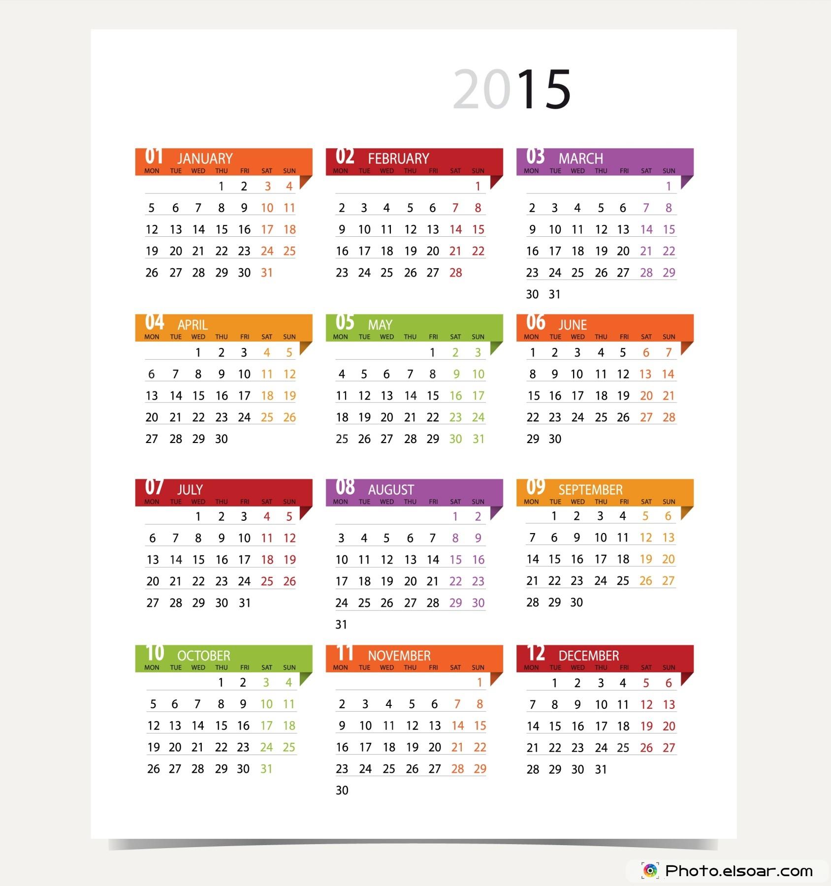 100% Off All 2015 Calendars Designs For Different Trends • Elsoar