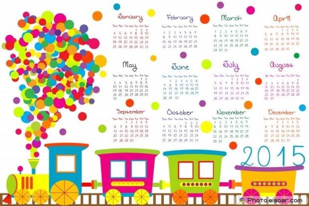 2015 Calendar for kids with cartoon train.