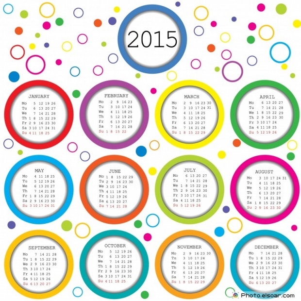 2015 Calendar for kids with colored circles.