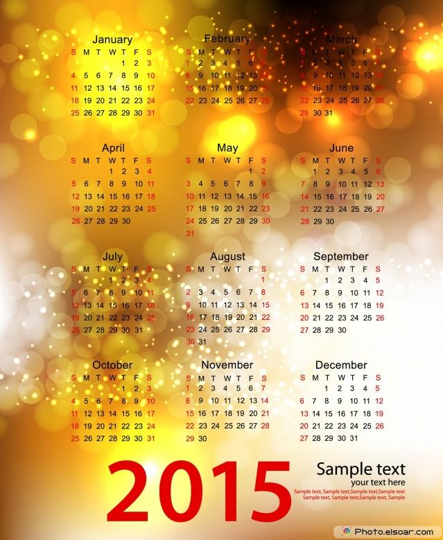 2015 Calendar on golden background.