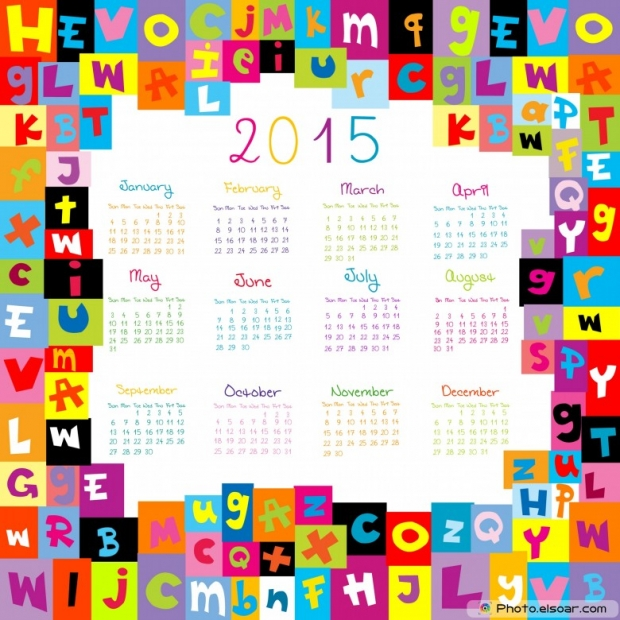 2015 Calendar with letters for schools.