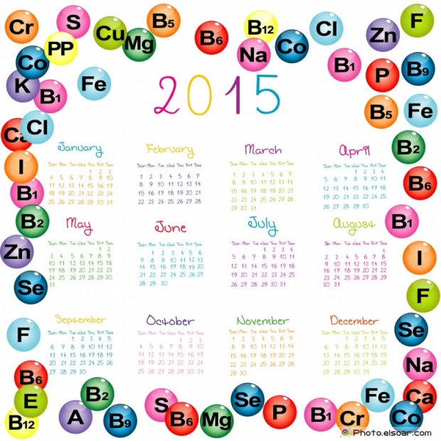 2015 Calendar with vitamins with minerals for drugstores and hospitals.
