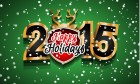 2015 Happy Holidays On Green Background