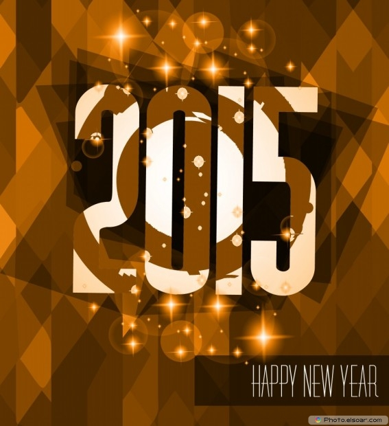 2015 Happy New Year On Classic Brown Background