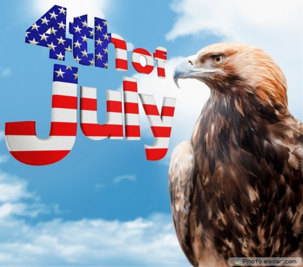 4th of July with proud eagle on the blue sky