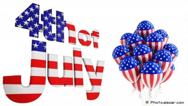 4th of july with balloons on white background