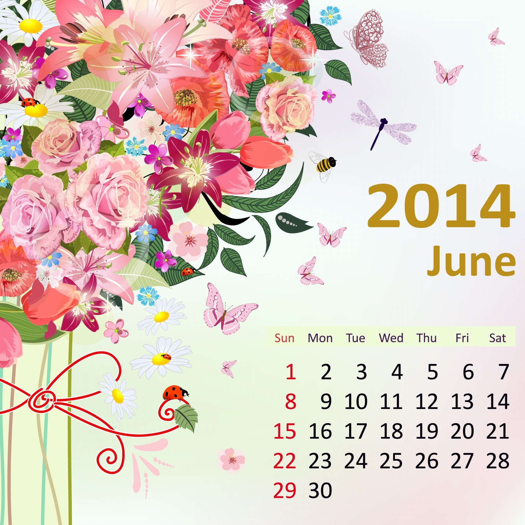Cute 2014 Monthly Calendar Printable June 2014 calendar.
