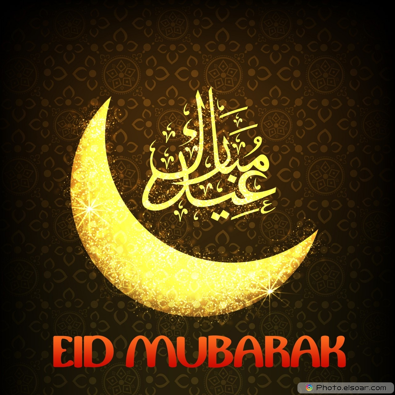 Amazing Eid Mubarak Wallpaper with crescent