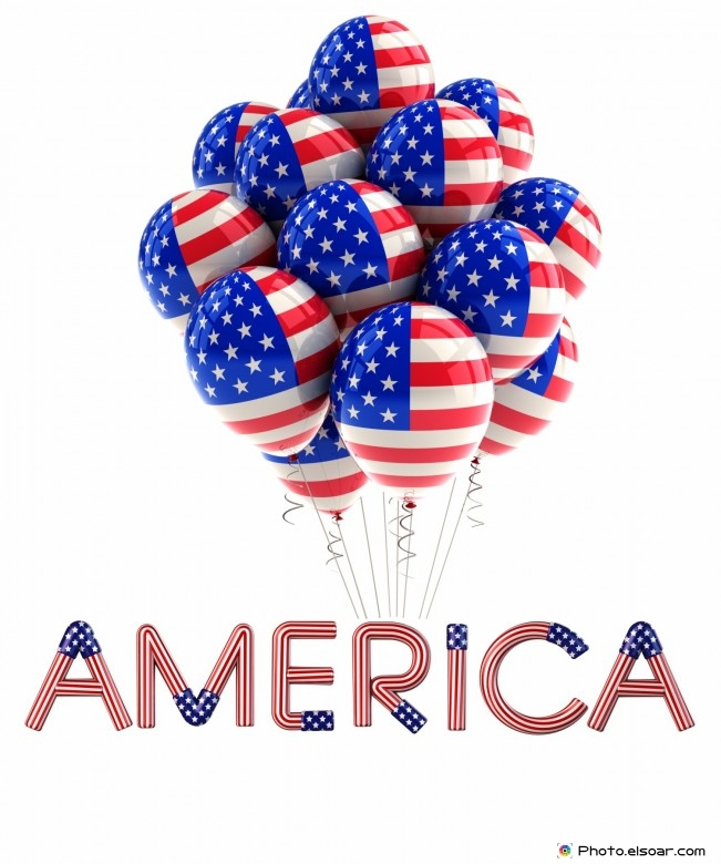 The word (America) with balloons in the form of the American flag