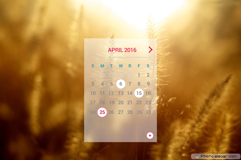 Unique Calendars for April 2016 on Landscape Backgrounds • Elsoar