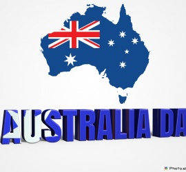 Australia Day 3D text with the map