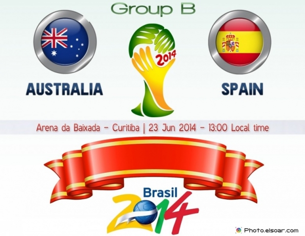 Australia Vs Spain - World Cup 2014 - 23 Jun 2014 - 13:00 Local time - GROUP B - Arena da Baixada - Curitiba