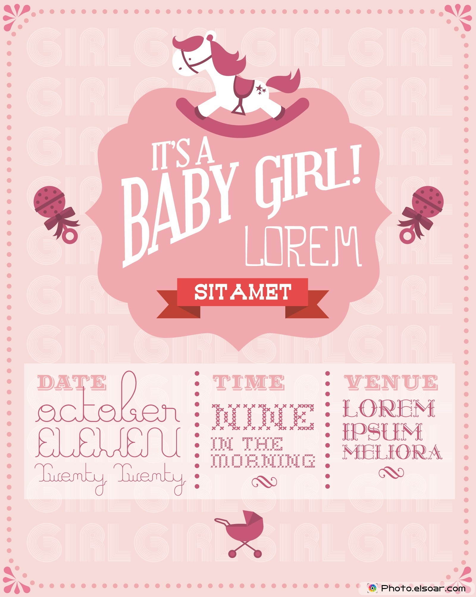 baby girl baby shower invitation card