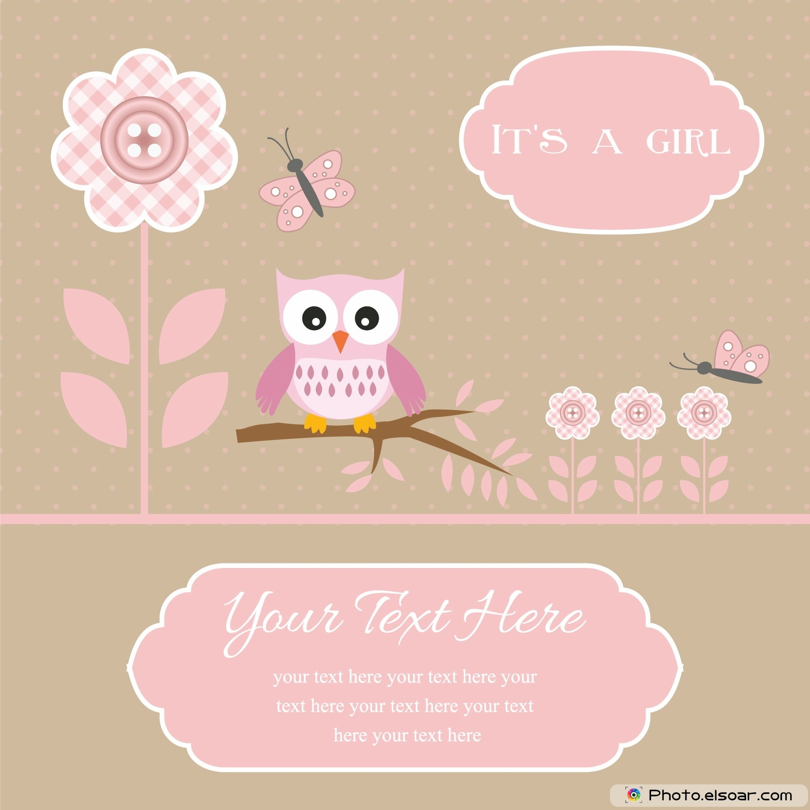 baby shower card for baby boy button flowers with owl