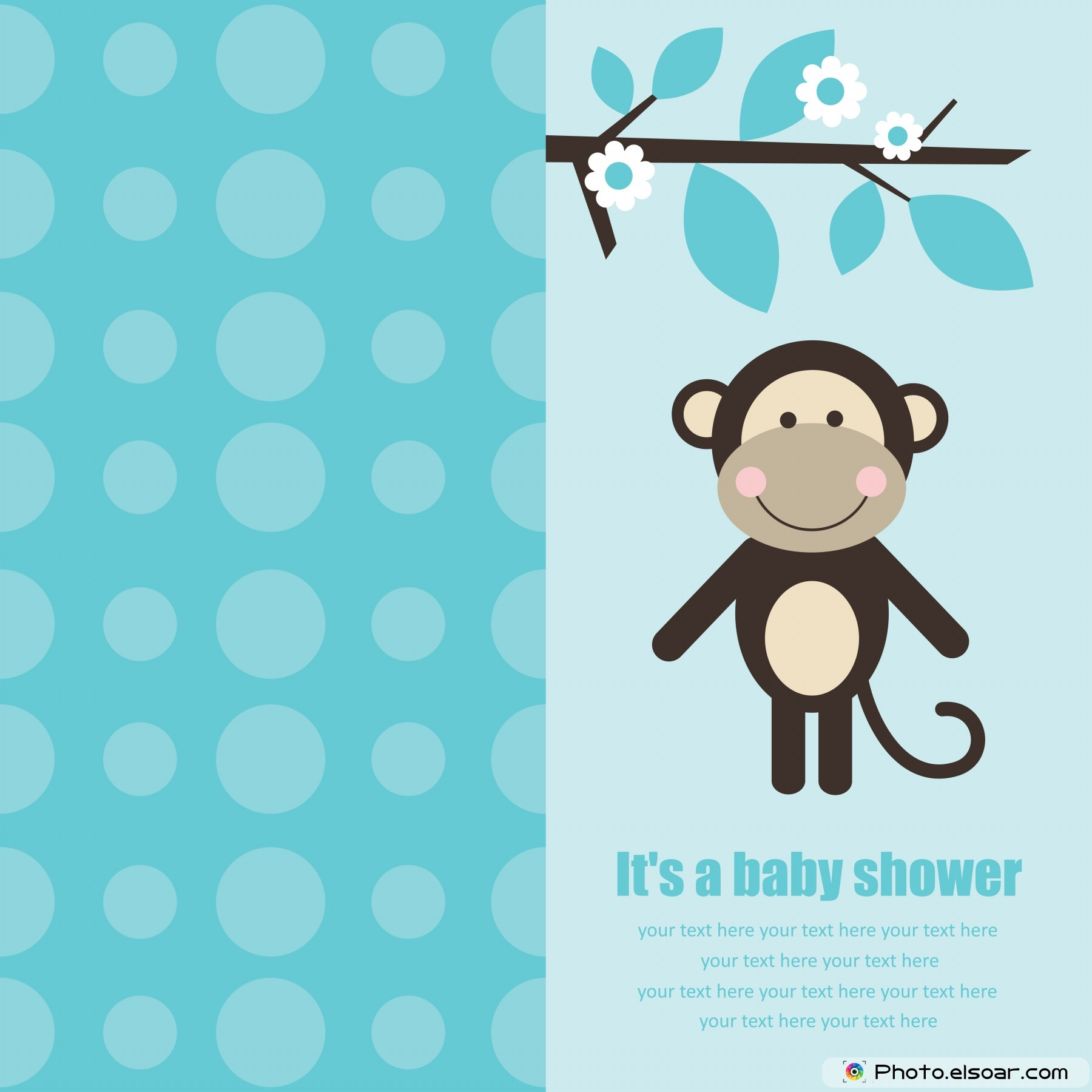 Superb Baby Shower Card With Cute Monkey