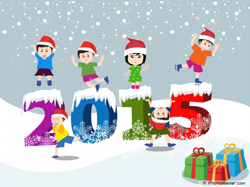 Cartoon Kids celebrate New Year 2015 – Colorful Wallpapers • Elsoar