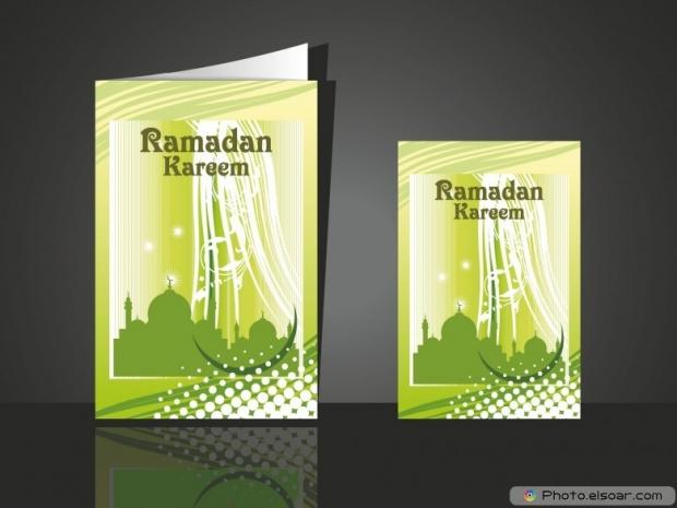 Beautiful design greeting card for ramadan mubarak