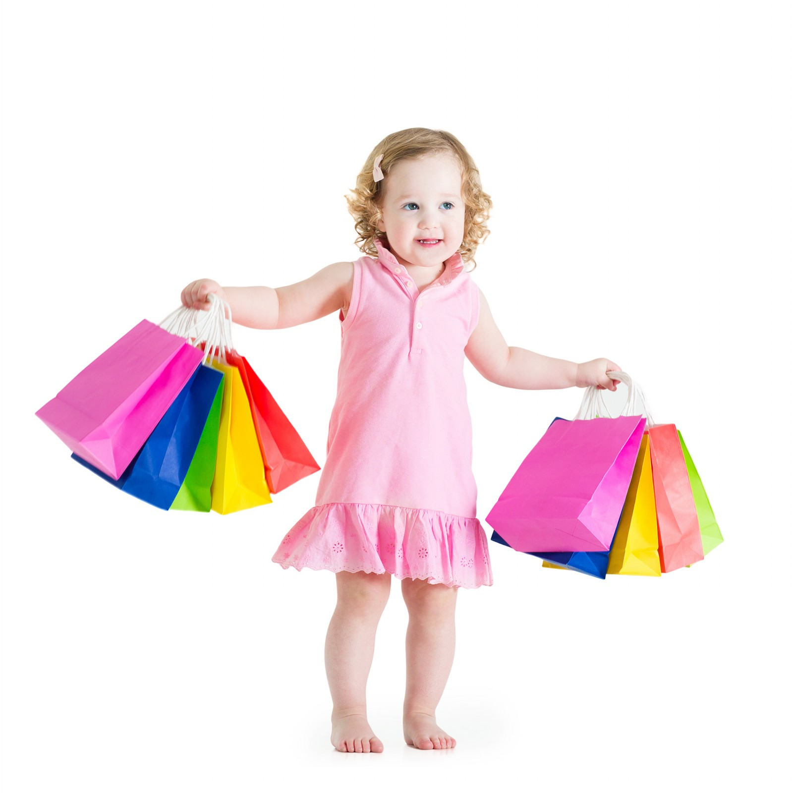Beautiful Little Girl After Sale With Shopping Bags • Elsoar