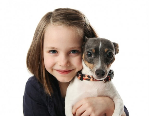 Beautiful little girl snuggling with a cute terrier puppy dog