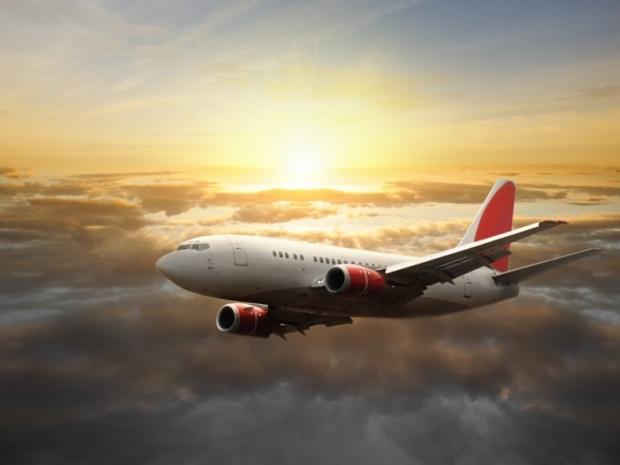 Big aircraft at sunset