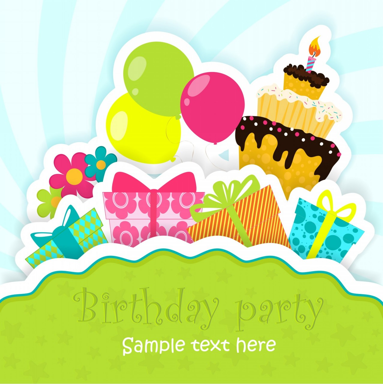 Birthday greeting card with cake, gifts, balloons, flowers