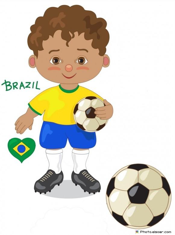 Brazil National Jersey, Cartoon Soccer Player
