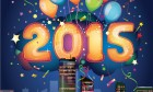 Bright Happy New Year 2015 With Colorful Balloons