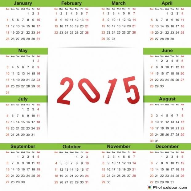 New Year 2015 Calendars (Clip Art)
