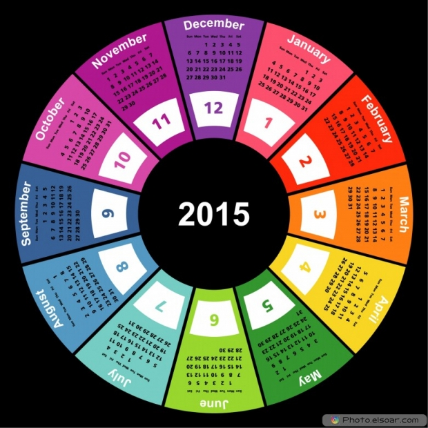 Calendar 2015 On Black.