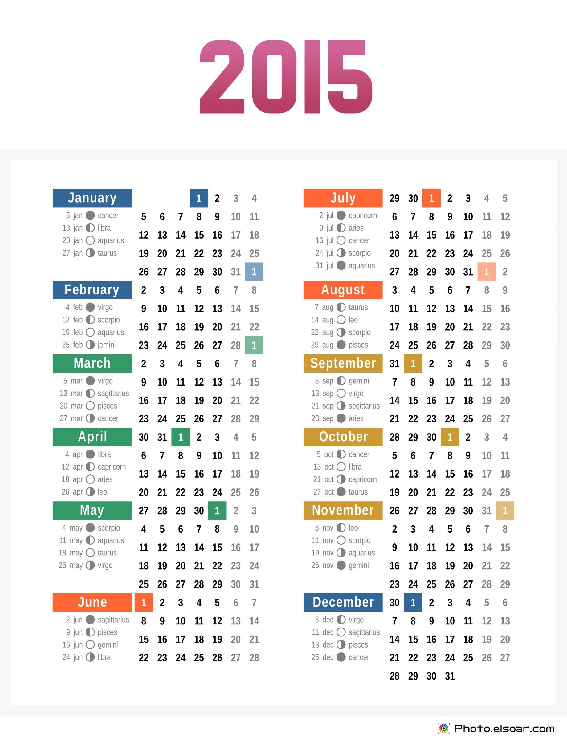2015 Calendar with Seasons