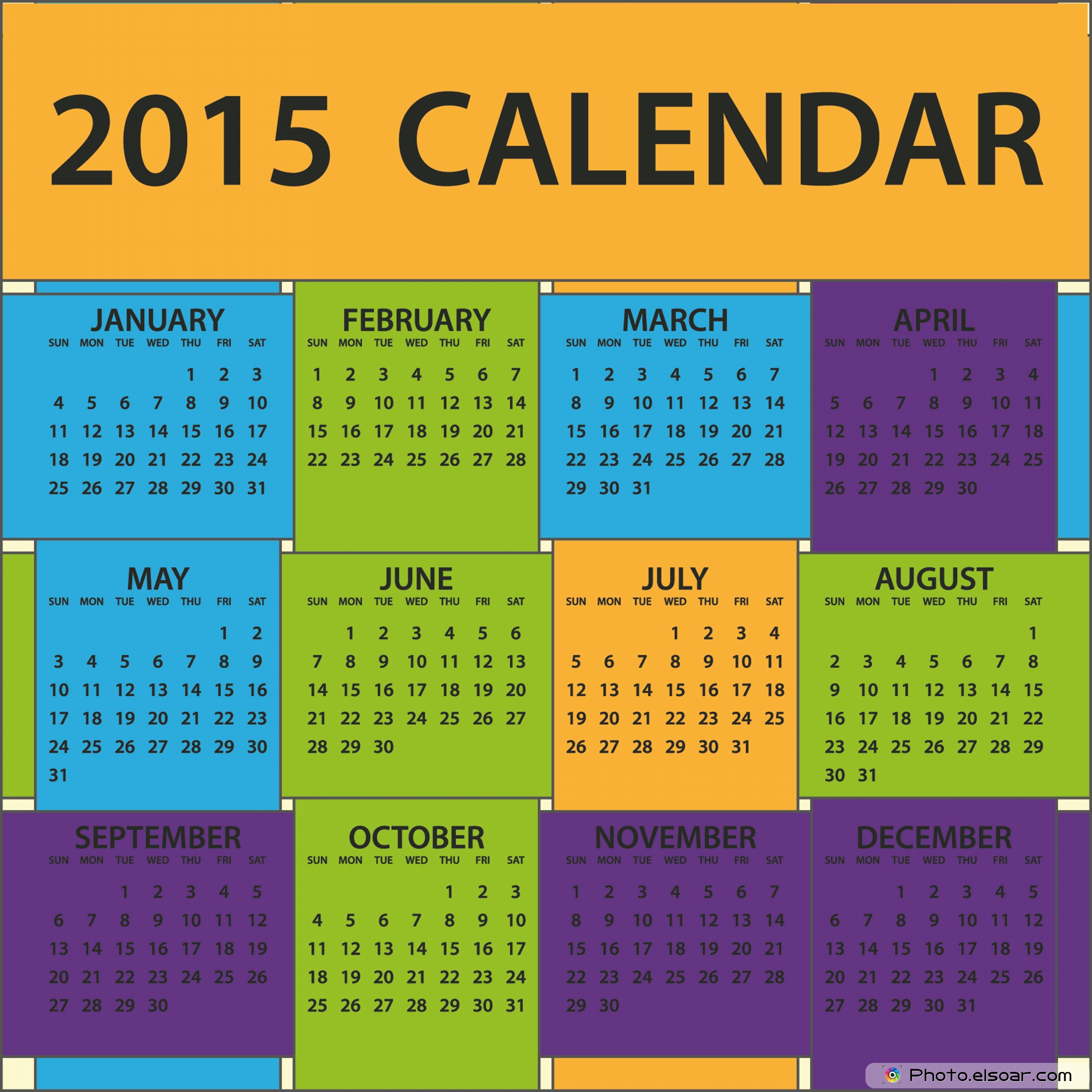 2015 Yearly Calendar Template Printable Free/page/2   Calendar Design ...