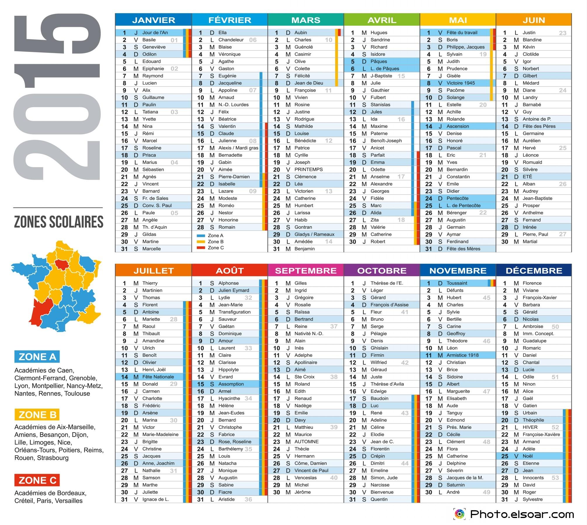 2015 French Calendar Templates & Images • Elsoar
