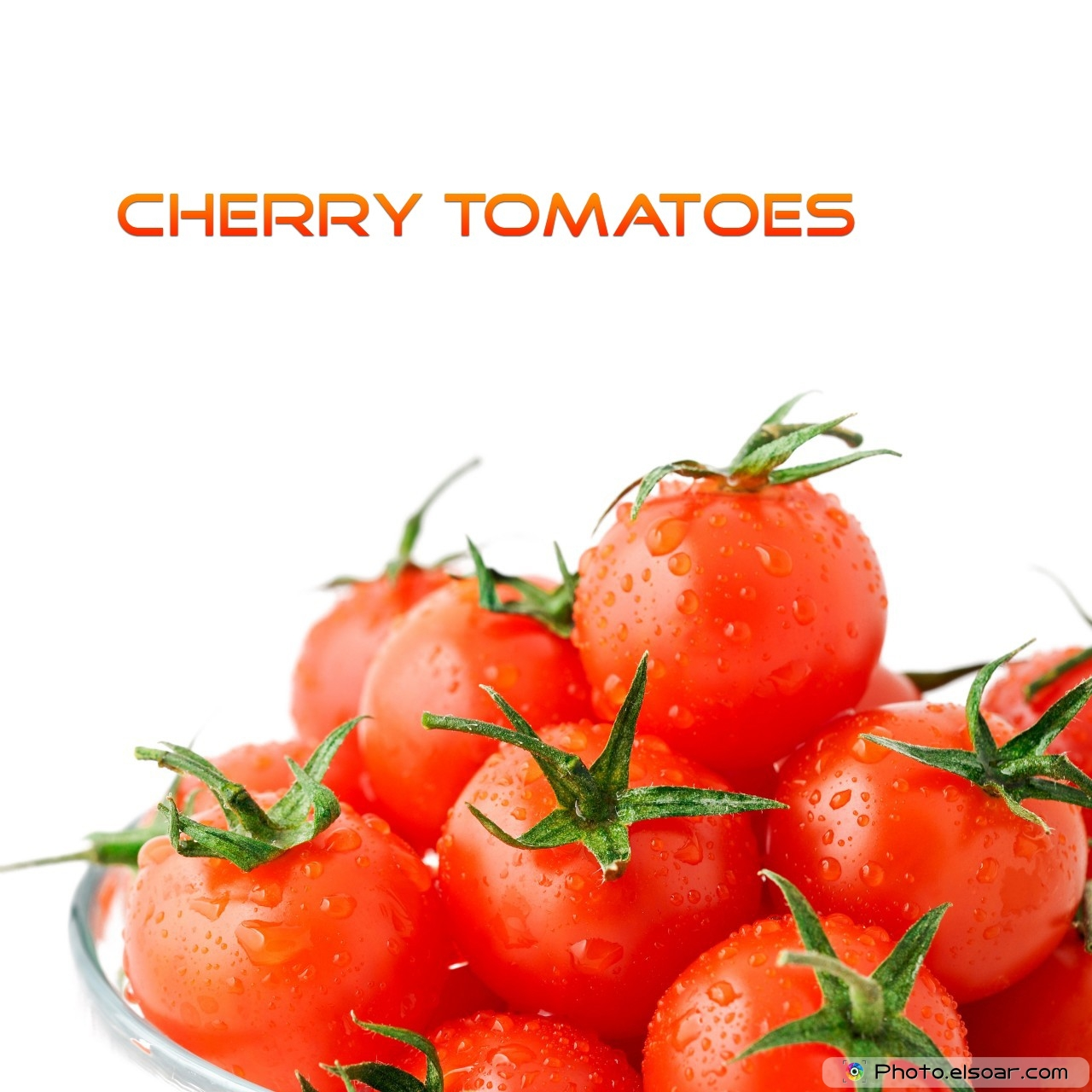 Cherry Tomatoes With Text On White Background