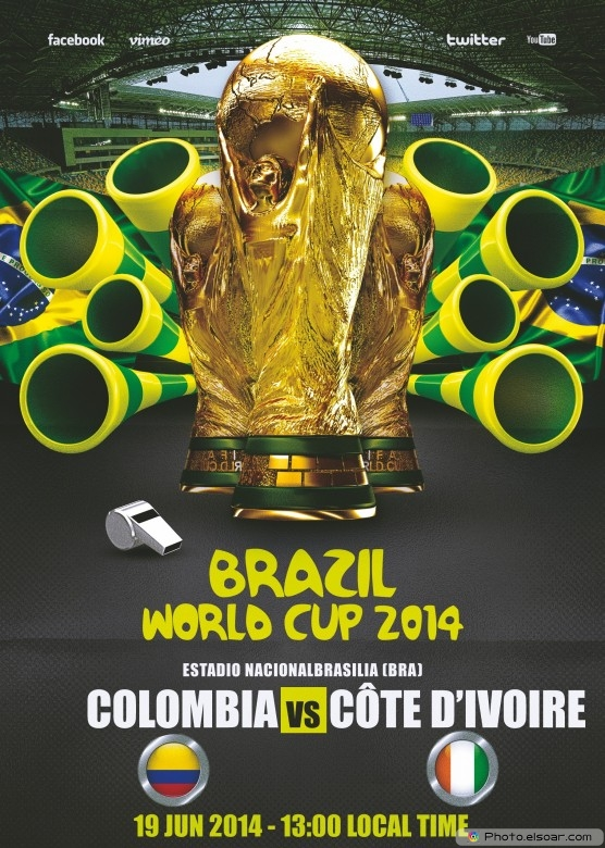 Colombia vs Côte d'Ivoire - World Cup 2014 - 19 Jun 2014 - 13:00 Local time - Group C - Estadio Nacional - Brasilia