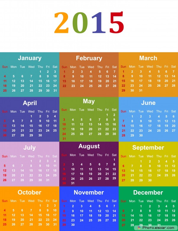 Colorful Calendar For Year 2015.