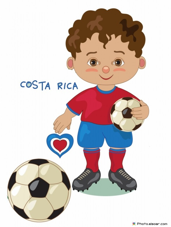 Costa-Rica National Jersey, Cartoon Soccer Player