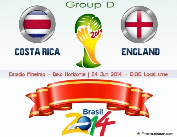 Costa Rica Vs England - World Cup 2014 - 24 Jun 2014 - 13:00 Local time - GROUP D - Estadio Mineirao - Belo Horizonte