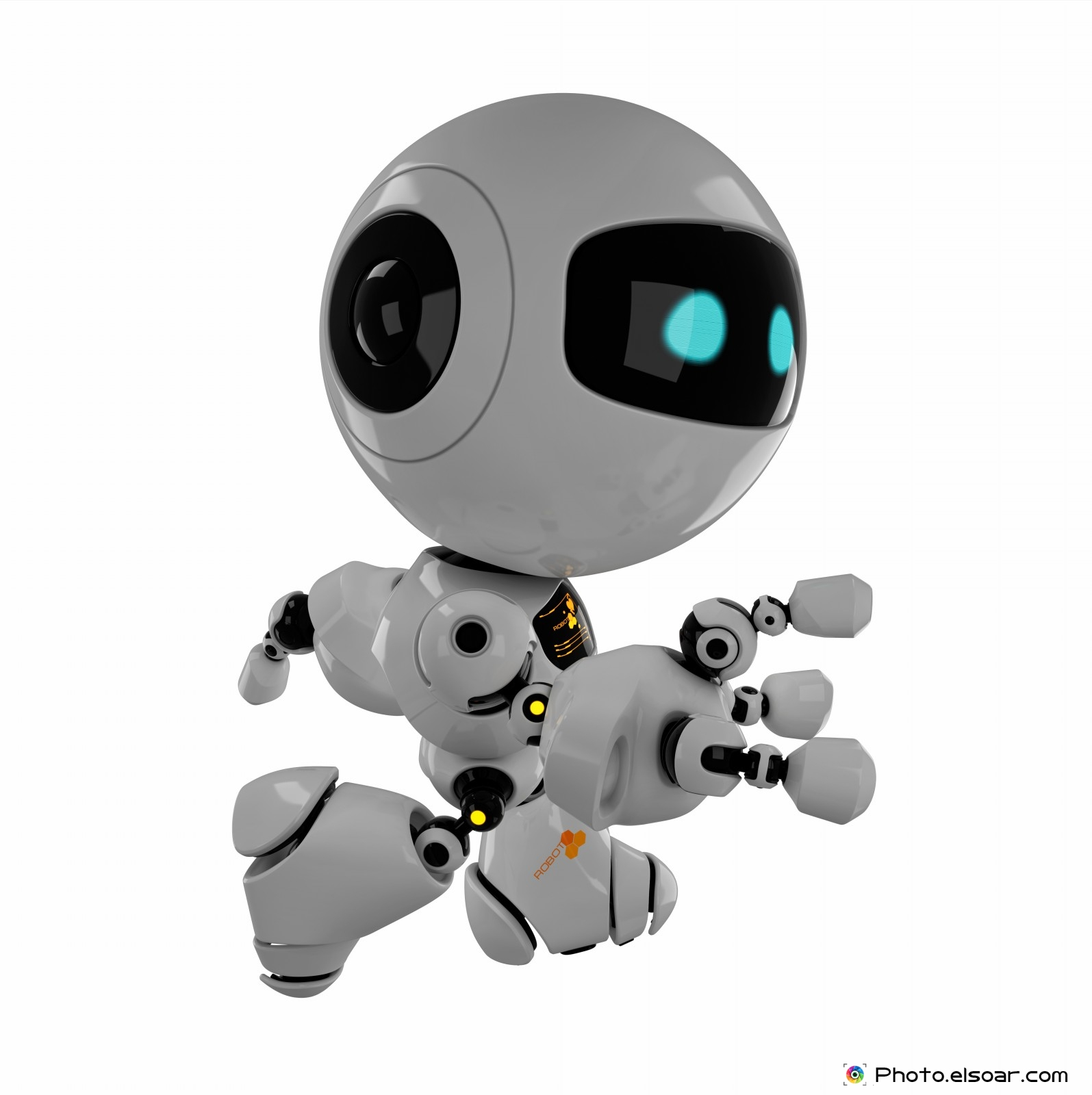 Cute Robot Designs Cute Running Robot on White