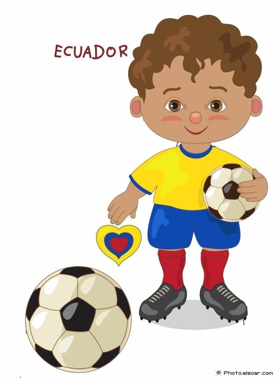 Ecuador National Jersey, Cartoon Soccer Player