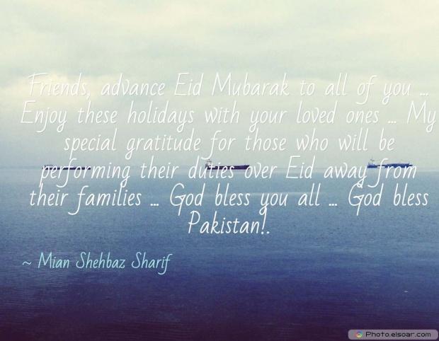 Eid Mubarak Quote By Mian Shehbaz Sharif