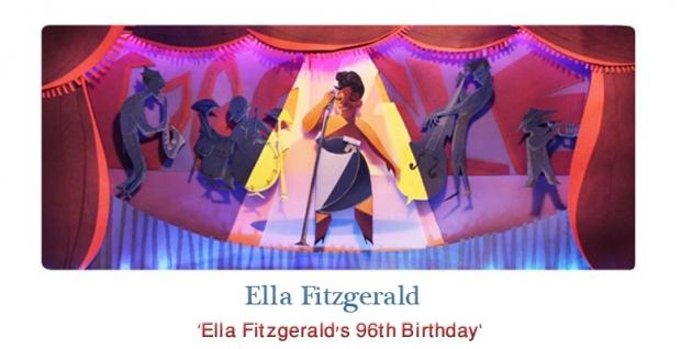 Ella Fitzgerald's 96th Birthday, Google Doodle Apr 25, 2013